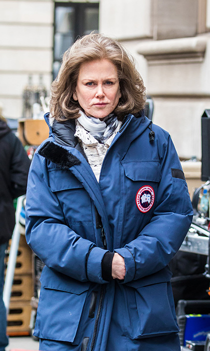 Keeping the chill at bay in her Canada Goose coat, Nicole Kidman was barely recognizable on the set of <em>The Goldfinch</em> in NYC on Mar. 9.