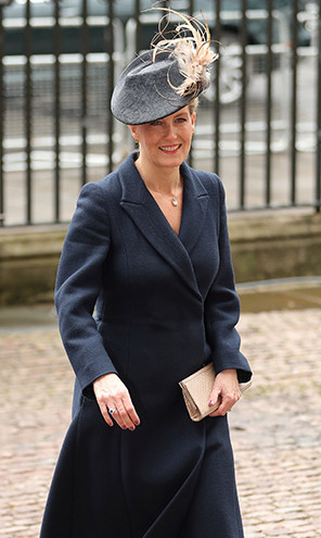 The Countess of Wessex opted for the ever-popular colour navy-blue for her Commonwealth Day outfit. Her ensemble was completed with a pair of beige heels and a grey hat.
