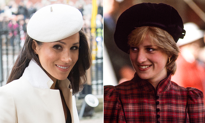 Meghan Markle called to mind her late mother-in-law Princess Diana by wearing a beret by one of Prince Harry's mom's favourite designers, Stephen Jones.