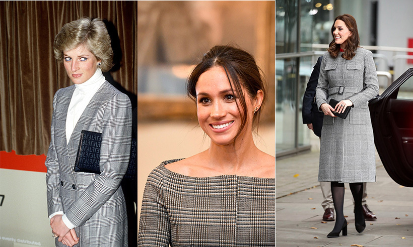 Princess Diana, Meghan and Kate have all worn the Prince of Wales check. 