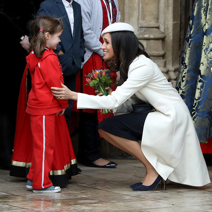 Meghan graciously chatted with the little girl, who was elated to be meeting a future royal.
