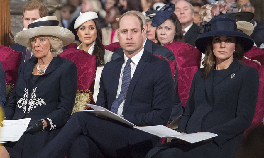 Camilla, Prince William and Kate watched the Commonwealth Day service performers.