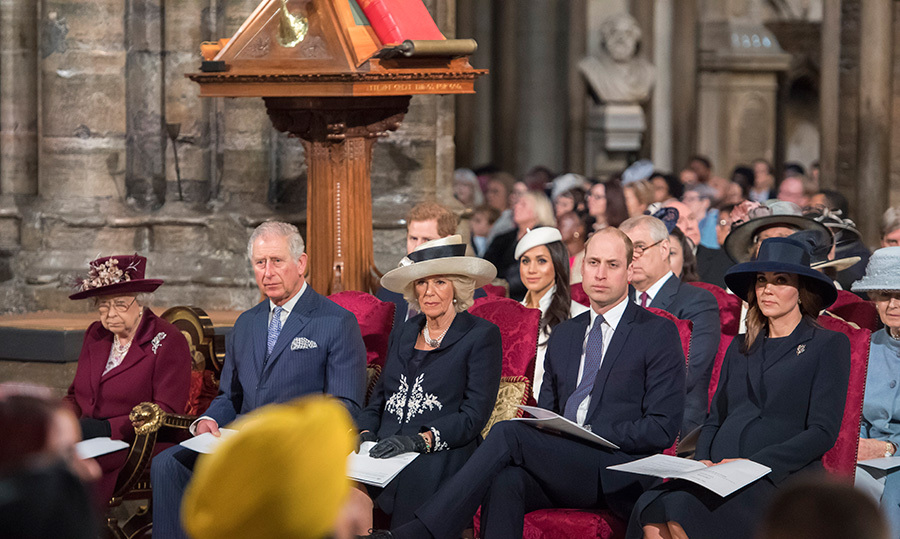 The Queen, Prince Charles, Camilla, Prince William and Kate all sat in a row together.