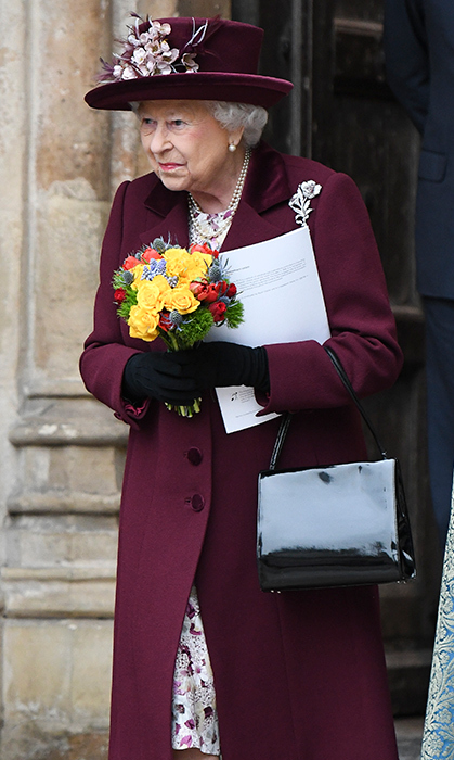 Her Majesty left Westminster Abbey with a bouquet in her hands.