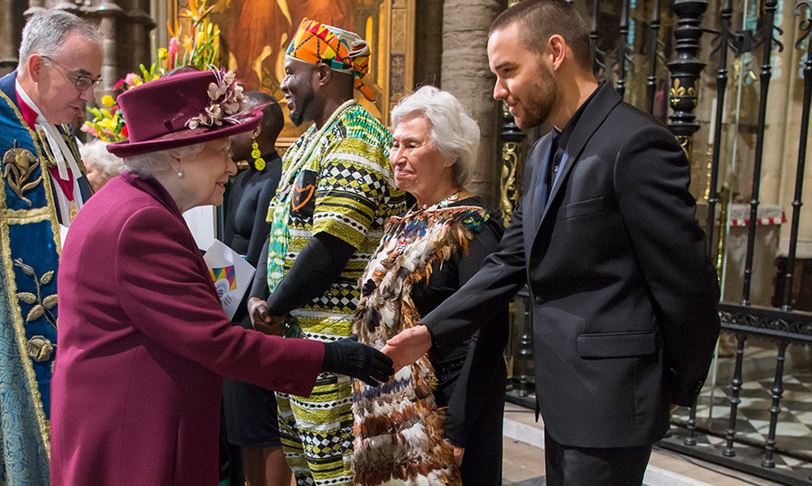 The Queen and Liam shared a handshake before the service began.