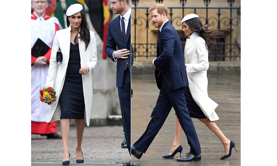 Meghan put her best fashion foot forward to celebrate Commonwealth Day on March 12! The royal-to-be looked stylish as ever in a stunning navy dress and white coat by Amanda Wakeley, a favourite designer of her future sister-in-law Kate. She anchored the look with suede navy Manolo Blahnik pumps and topped it of with a chic white beret by Stephen Jones. Meghan kept her makeup simple with brown shadow and a pink glossy lip to highlight her natural beauty.
