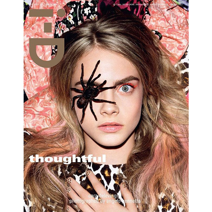 Is this the cover of i-D magazine or Cara Delevingne participating in an episode of <em>Fear Factor</em>? The brave model posed with a tarantula spider over one eye in a nod to the brand's famous wink for a 2012 issue. The spread, titled Go to Sleep Things Will be Better In the Morning, was shot at the London Zoo and featured the British supermodel with a range of animals tame and wild.