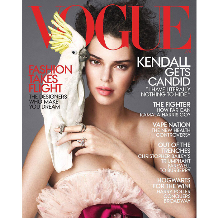 Kendall Jenner's no stranger to <em>Vogue</em>, but sharing the cover with a cockatoo is something new! The 22-year-old is front and centre for the magazine's April 2018 issue, shot by Mert & Marcus. The supermodel's feathery frock is perfectly complemented by her companions yellow headdress as it sits majestically perched on her pointer finger.