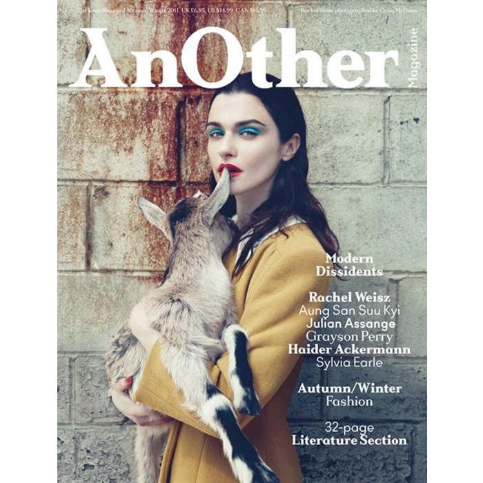"You can't get Rachel Weisz's goat! The actress looked stunning on the cover of <em>AnOther</em> magazine posing alongside a coy Sheena the Alpine goat in 2011. This was the first time the brand had ever put an animal on the cover! They shared some fun facts about Sheena with readers - like her hobbies (eating hay and greeting visitors to the upstate NY farm) and the fact that she'll jump up on the fence when the farm's owner Lisa yells ""Hey, girlfriend!"""