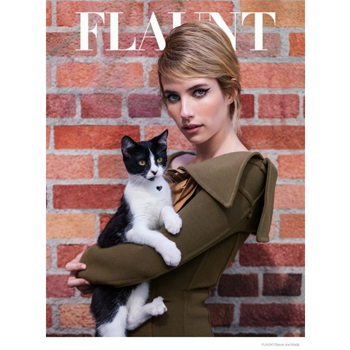 "Emma Roberts got in touch with her feline side on the cover of <em>Flaunt</em>'s ""Nine Lives"" issue in 2014. Fellow actress Diane Kruger also posed with a furry friend for an alternate cover."