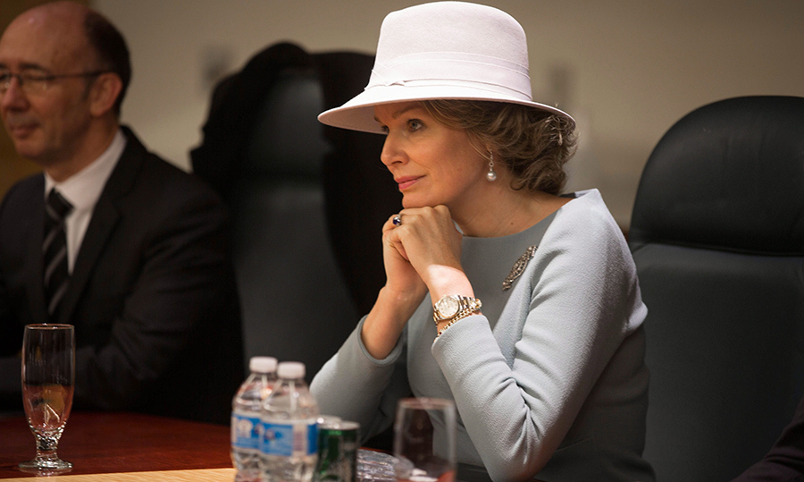 Queen Mathilde, looking elegant in powder blue, sat at a roundtable with the board of SickKids while in Toronto on March 15.