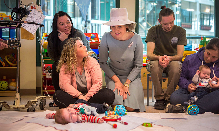 Her Majesty paid a visit to patients at Toronto's SickKids Hospital.