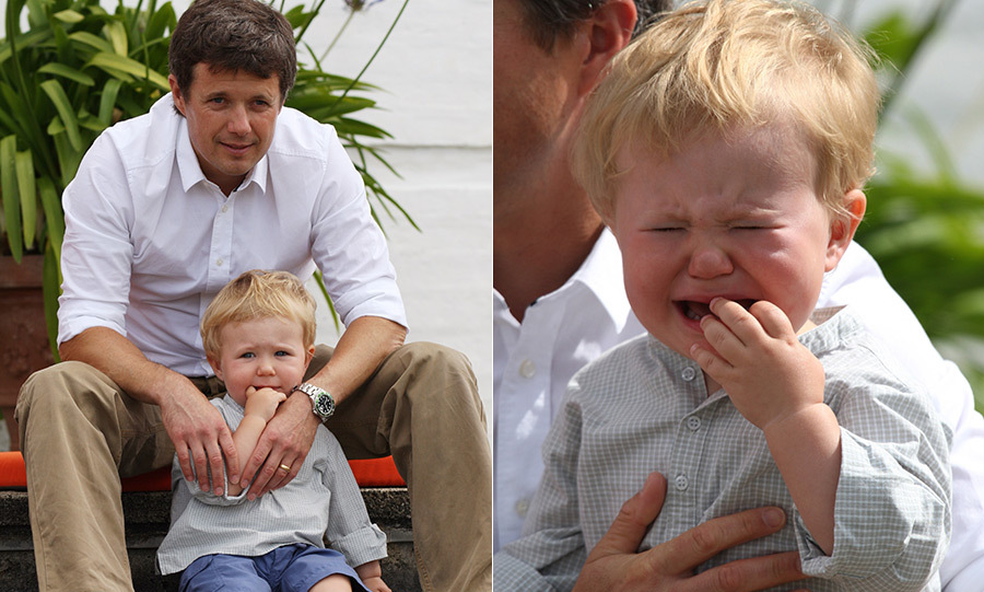 Sometimes we just don't want to have our photo taken! Prince Christian may be second in line to the Danish throne, but in an early photoshoot with his dad, Crown Prince Frederik, the little one seemed to be having some teething troubles, bursting into tears with his fingers in his mouth.