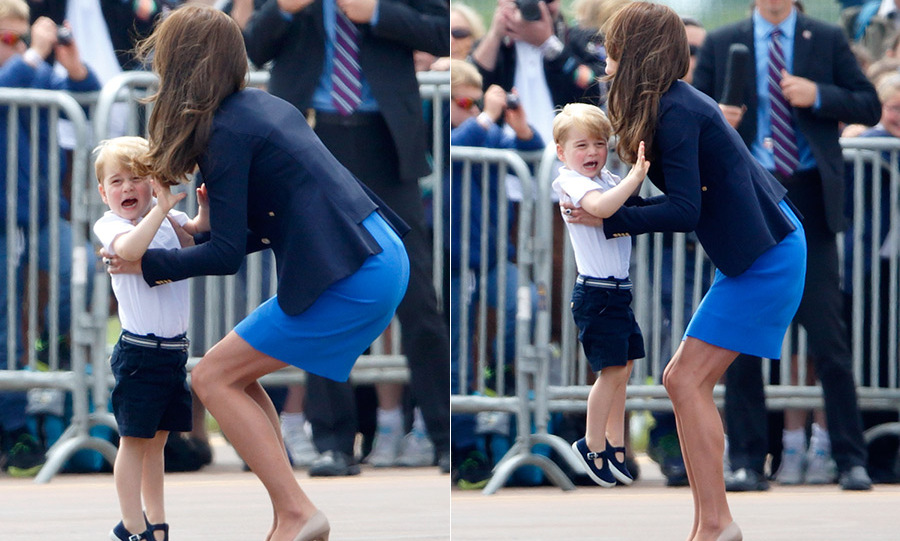 "Only a cuddle from mom could comfort Prince George during his first official UK engagement at the Royal International Air Tattoo, where the future monarch had a few tearful moments. For the most part, George enjoyed his tour, even asking, ""Mummy, can I fly the Red Arrow now?"" 
