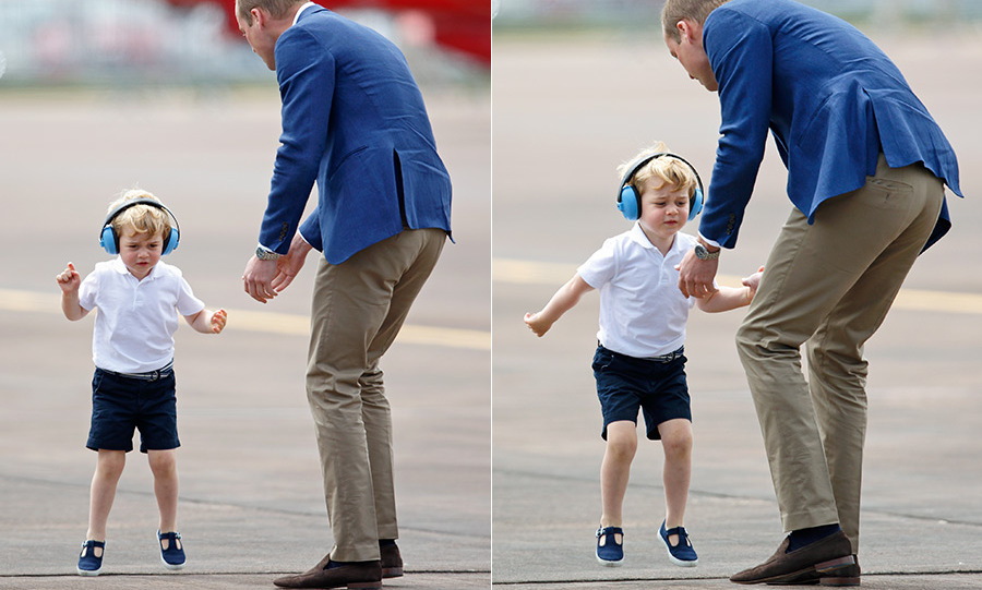 Prince George did some serious jumping in his noise-cancelling headphones while exploring the Royal Airforce Station in Gloucestershire, dodging dad as Prince William tried to give him a bit of a talking to.