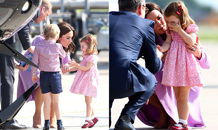 Princess Charlotte had a bit of a meltdown at the Hamburg airport after the royal cutie toppled over and burst into tears. The family was on hand to check out the local helicopters, but one member probably needed a nap - and a snuggle from mom.
