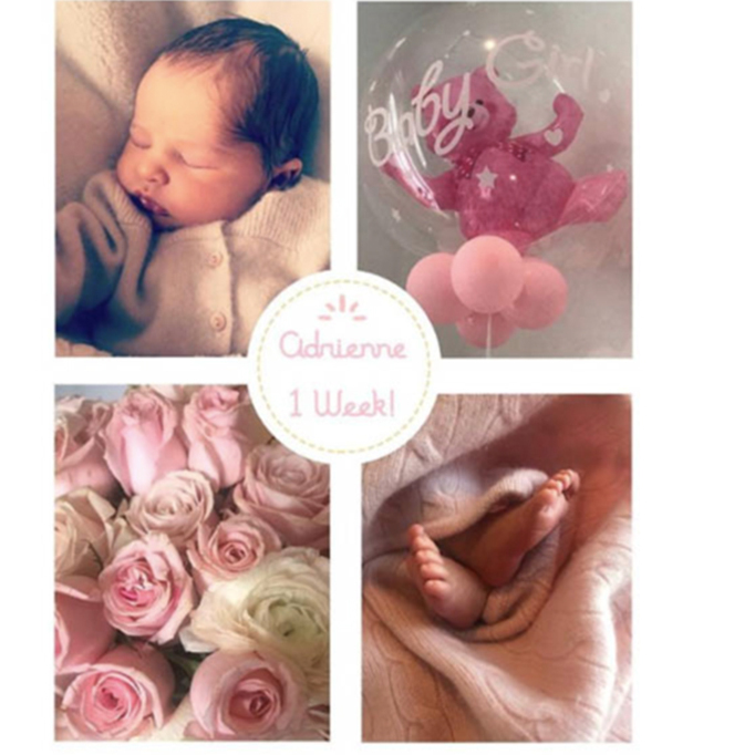 "Princess Madeleine of Sweden shared an adorable collage to celebrate her newborn baby girl, Adrienne! The royal captioned the snap, ""One week old today!""
