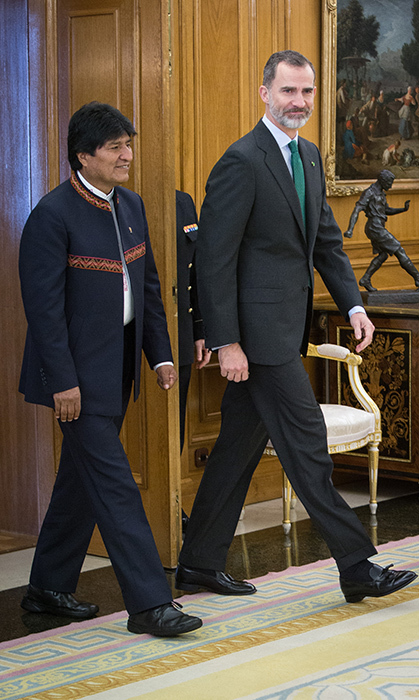 King Felipe VI of Spain met with Bolivian president Evo Morales at Madrid's  Zarzuela Palace on March 16.