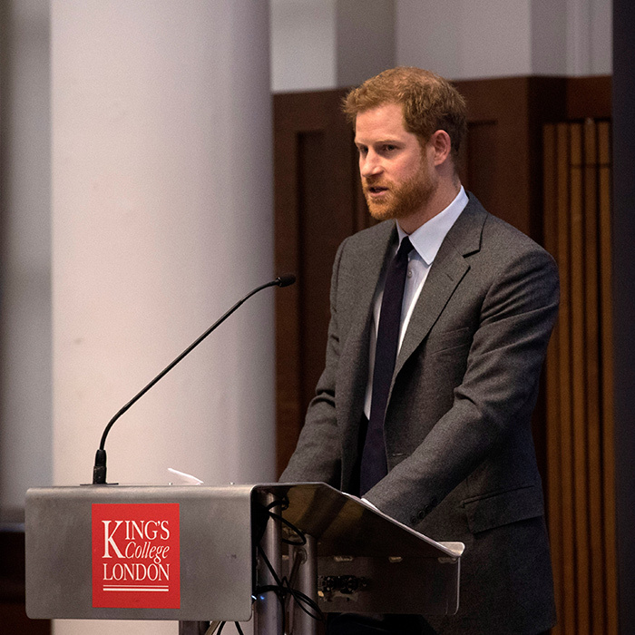 Prince Harry looked dapper while delivering a keynote speech at the annual Veterans' Mental Health Conference at King's College on March 15.