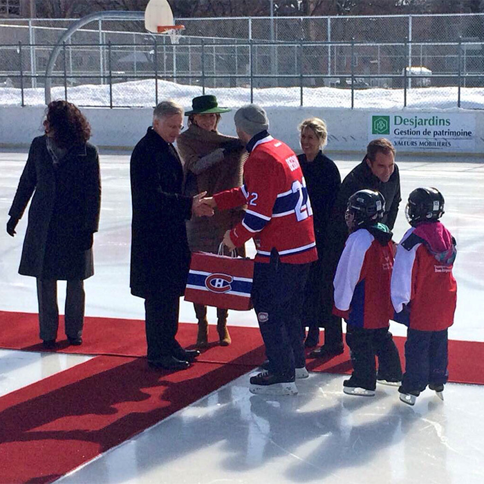 While in Montreal – the last stop on their royal tour – Mathilde and Philippe paid a visit to a local skating rink, where kids showed off their skills. The royals received some Montreal Canadien's memorabilia.