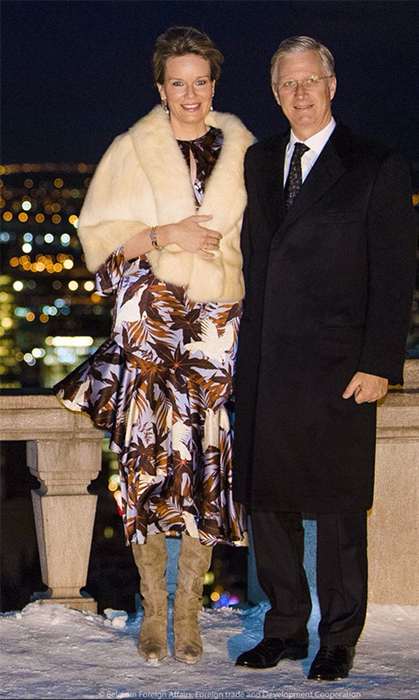 His and Her Majesty looked elegant as ever during a reception in Quebec for the Belgian community.