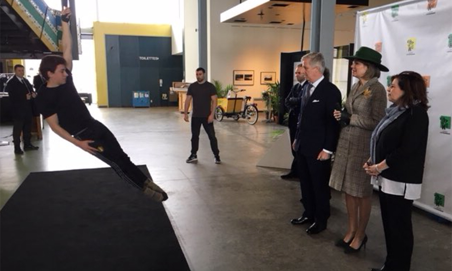 Montreal is very well known for its circus schools! The king and queen watched as a young boy demonstrated some of his learned skills.