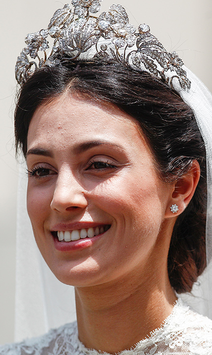 <p>Take our breath away! The stunning Peruvian bride dazzled in the Hanover Floral Tiara — previously worn by her sister-in-law Ekaterina Malyshev last summer and Princess Caroline. She paired the sparkler with subtle earrings and a high-neck lace gown. Alessandra was clearly elated to be marrying the love of her life in her home city of Lima.</p>