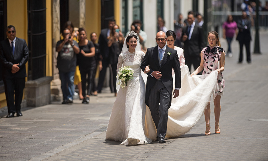 <p>Here comes the bride! Alessandra showed off her megawatt smile as onlookers snapped photos of the royal-to-be.</p>