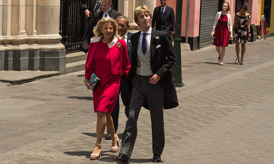 <p>The prince arrived with his mother Chantal Hochuli, who looked lovely in pink for the ceremony.</p>