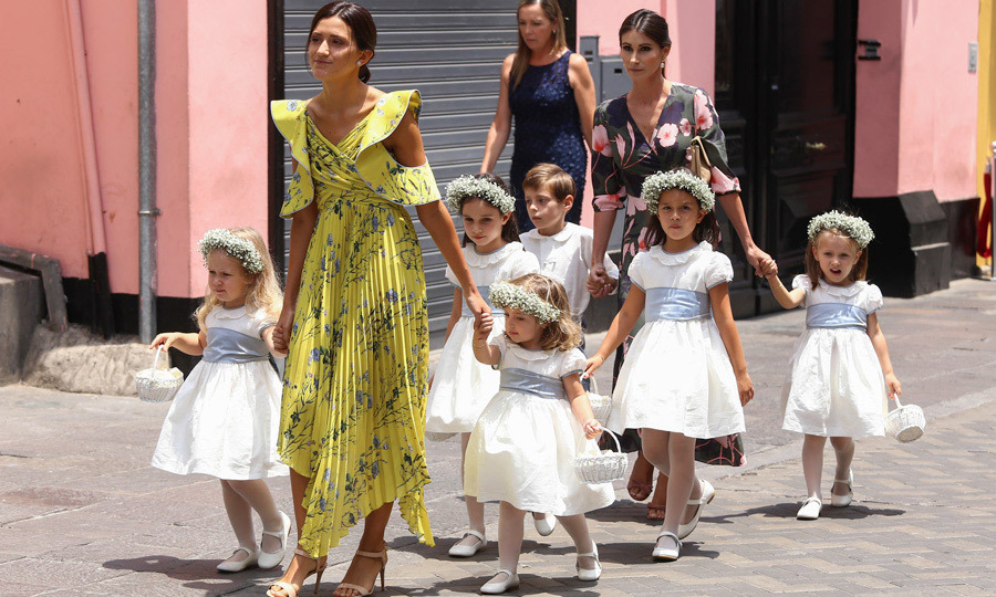<p>The couple's flower girls and one pageboy were dressed in Spanish designs by one of Kate Middleton's go-to children's wear labels. The newlywed's young bridal party walked the streets of Lima, Peru and down the aisle of St. Peter's Church wearing outfits by Pepa & Co.</p>