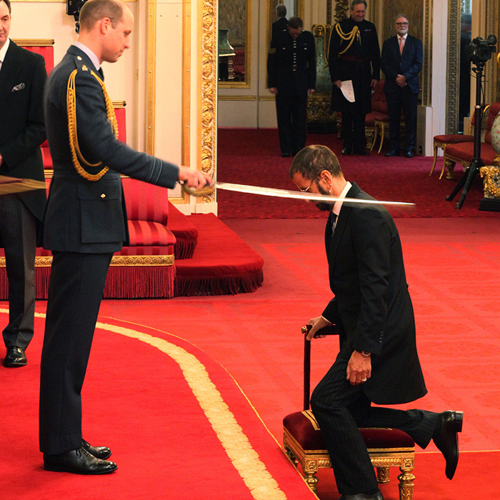 Former Beatles member Sir Richard Starkey (a.k.a. Ringo Starr) was made a Knight Bachelor of the British Empire by Prince William.