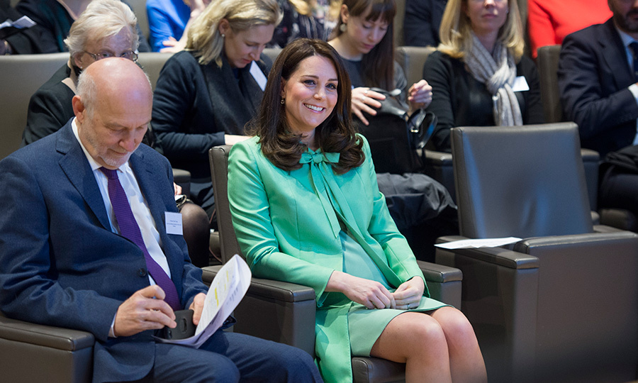 Kate looked ready for spring in mint green! The glowing royal, who is pregnant with her third child, took a seat in a comfy chair to watch the symposium on early intervention for children and families at the Royal Society of Medicine on March 21.
