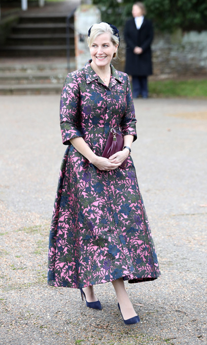 The <a href=/tags/0/countess-of-wessex><strong>Countess of Wessex</strong></a> braved the chill of winter with this design worn to <a href=/tags/0/christmas><strong>Christmas</strong></a> Day Church service at the Church of St. Mary Magdalene in 2017.