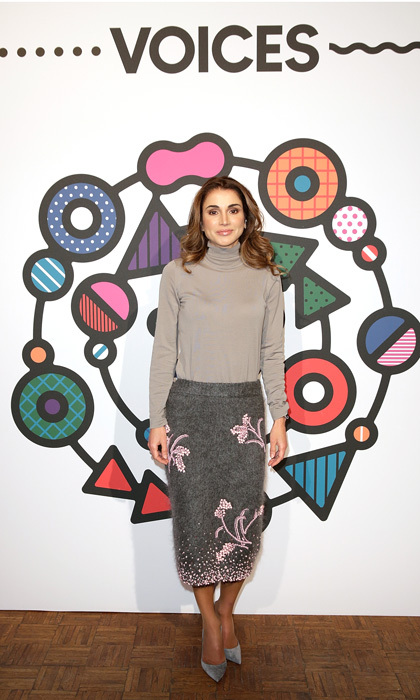 Always one to remain subtle with her fashion choices, <a href=/tags/0/queen-rania><strong>Queen Rania</strong></a> of Jordan put a little spring in her skirt in 2017 when she attended the BoFVOICES event in England.