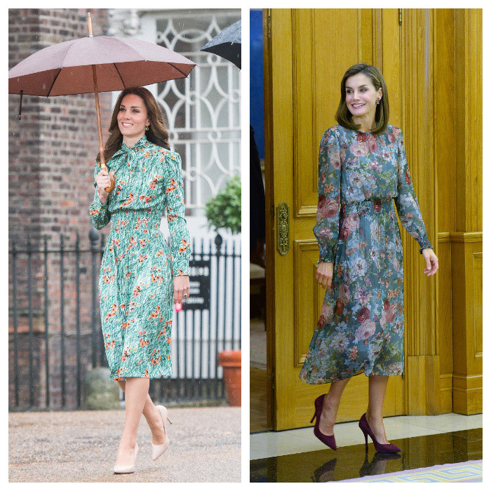 <p>In 2017, Queen Letizia and the Duchess of Cambridge turned heads in similar green floral fashion. <a href=/tags/0/prince-wiliam><strong>Prince William</strong></a>'s wife wore a <a href=/tags/0/prada><strong>Prada</strong></a> dress, while the Spanish royal donned an almost identical design by <a href=/tags/0/zara><strong>Zara</strong></a>.