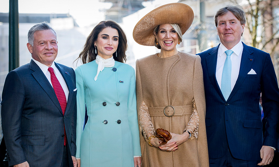 Looking stylish and in high spirits, King Abdullah II, Queen Rania, Queen Maxima and King Willem-Alexander posed for a group photo.