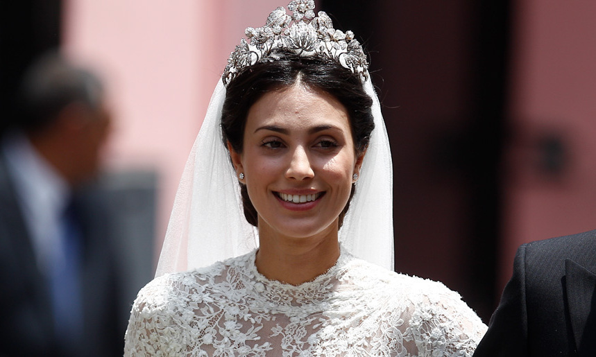 "In her native Lima, Alessandra de Osma (a.k.a the ""princess of the Andes"") wed Prince Christian of Hanover on Mar. 16, and fans lined the streets to get a glimpse of the stunning bride walking towards the Basilica de San Pedro. Clad in a gorgeous lace confection by Spanish designer Jorge Vazquez, the icing on this stunning look was the Hanoverian Floral Tiara - a diamond-encrusted masterpiece that has become a favourite of brides marrying into the House of Hanover.