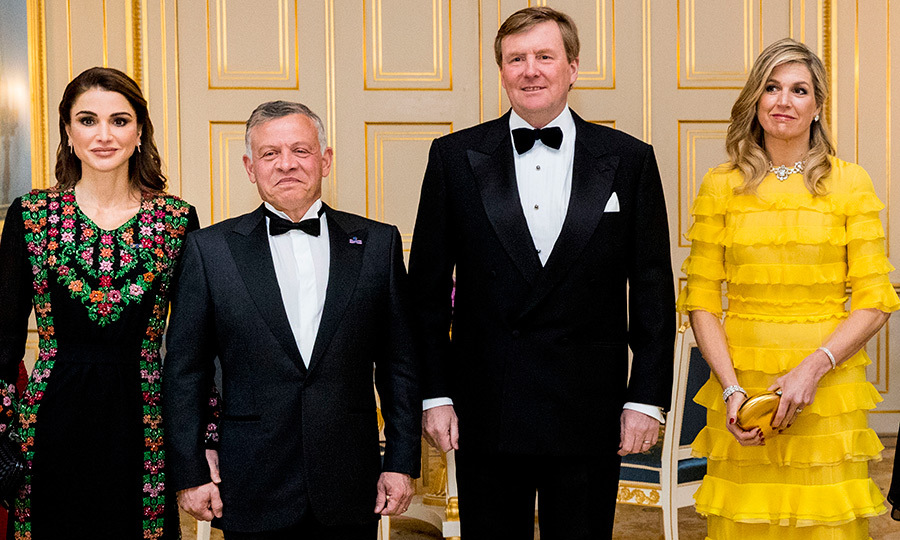 <p>Queen Rania and King Abdullah II of Jordan stood alongside their royal hosts King Willem-Alexander and Queen Maxima of the Netherlands for a few official photos. The men looked dapper in their black tuxedos, while the Queens made major sartorial statements in their stunning evening gowns.</p>
