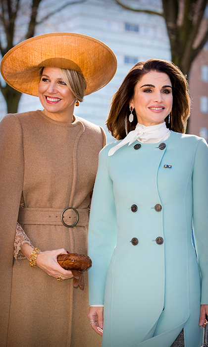 <p>Spring has clearly sprung for these stylish royals! While paying a visit to the Gemeentemuseum on March 20, Maxima opted for a stunning caped camel coat, while Rania went with on-trend pastel blue.</p>