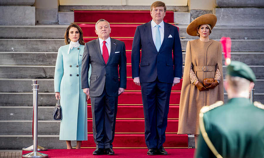 <p>Queen Rania and King Abdullah II of Jordan were officially welcomed at the Palace Noordeinde in a special ceremony on March 20.</p>