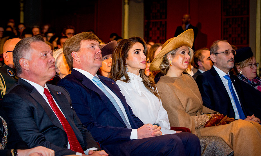 The four monarchs attended a 'World Class Student' panel discussion at the theater Diligentia on March 20.