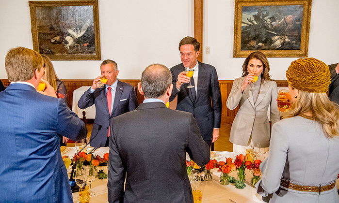 <p>Queen Rania and King Abdullah II of Jordan refuelled with some orange juice while at lunch in the Netherlands as part of their two-day state tour.</p>