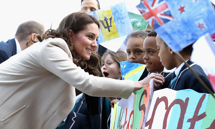 The Duchess of Cambridge graciously chatted with young children at the event on March 22.