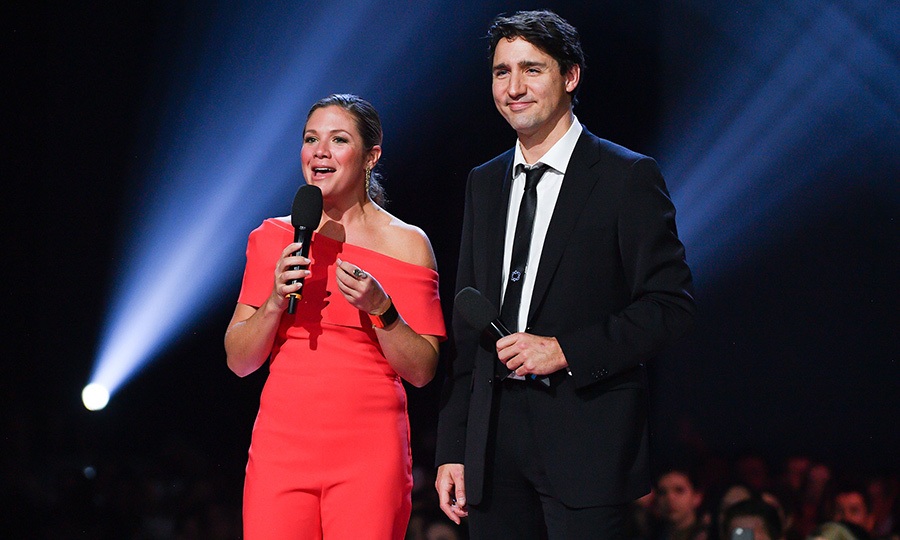 <p>To make the Junos even more Canadian, Prime Minister Justin Trudeau and Sophie Gregoire Trudeau took to the stage at the awards show in 2017. The activist looked particularly patriotic in a gorgeous red, off-the-shoulder jumpsuit.</p>
