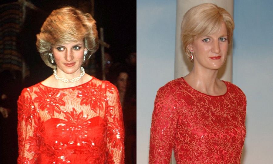 Princess Diana dazzled in a lacy red gown on an official visit to Norway in 1984, which was later copied for her look-alike at New York's Madame Tussauds.