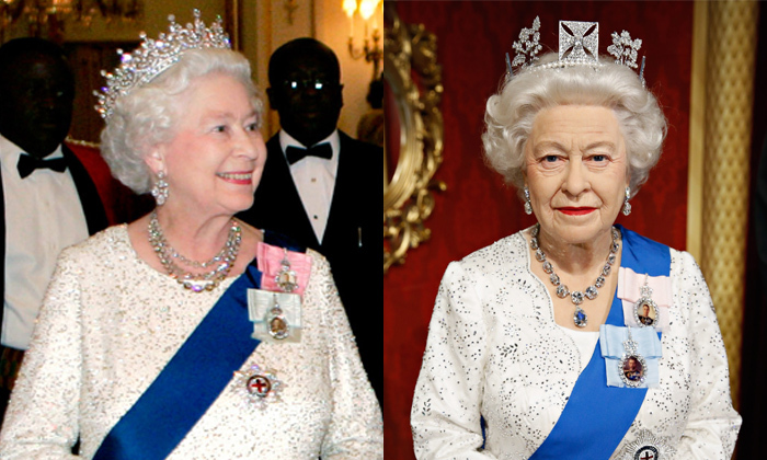 The Queen's waxy doppelgänger was ready for a state banquet clad in a tiara and her Order of the Garter sash. The figure was on display in 2014 at New York's Madame Tussauds.