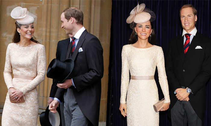 The Duke and Duchess of Cambridge shared a laugh in 2012 as they left Westminster Hall, where they attended a Diamond Jubilee Luncheon for The Queen. Kate's pretty lace dress and matching fascinator were given the wax treatment alongside William's dapper suit and tails at Tokyo's Madame Tussauds in 2013.