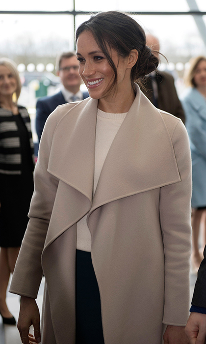 This isn't the first time Meghan has worn Canadian outerwear giant Mackage. She also chose a burgundy leather jacket by the brand for the opening ceremonies of her love's Invictus Games in Toronto in 2017 and a navy coat for her first official outing with Prince Harry in Nottingham.