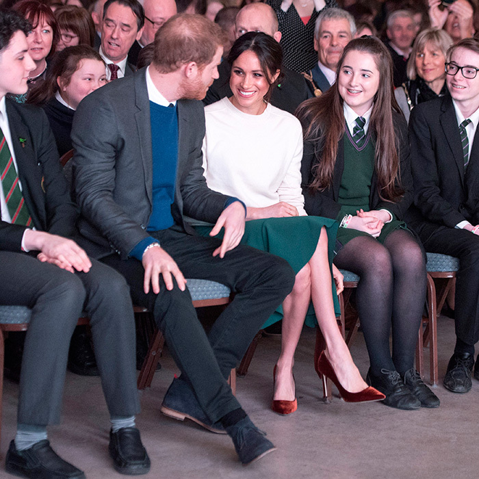 <p>Harry and Meghan chatted with students at the centre while waiting for the event to begin.</p>