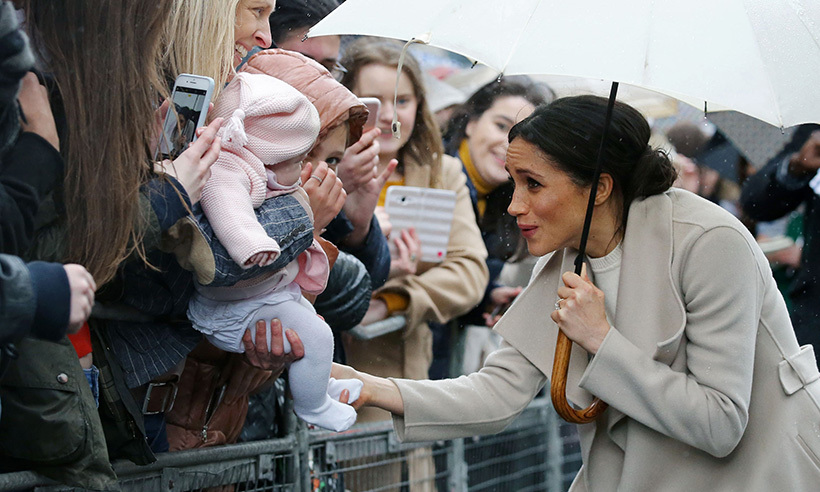 "Meghan met an adorable little fan in the crowds in Ireland. She later had babies on the brain when she and Harry checked out some innovative baby products at Catalyst Inc. The former actress spoke to the husband-and-wife team who own Shnuggle, a company that makes innovative baby products. As she inspected a changing mat, a Moses basket and a baby bath that allows the baby to sit up, Meghan said: ""I am sure at one point we will need the whole thing. It's very sweet.""